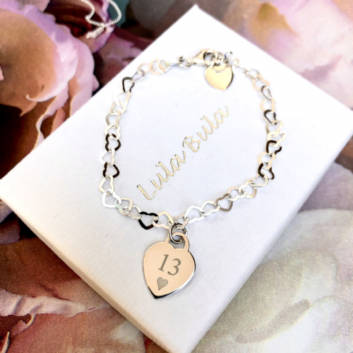 13th birthday  gift bracelet - FREE ENGRAVING